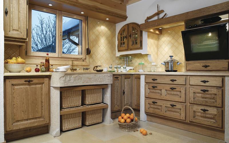 Cuisines rustique tradition teinte bois cuisines laurent for Salle de bain vert kaki